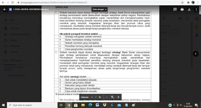 Contoh Soal Ujian Madrasah (UM) Bhs. Indonesia MA