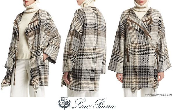 Princess Charlene wore Loro Piana Traford Plaid Fringe Poncho