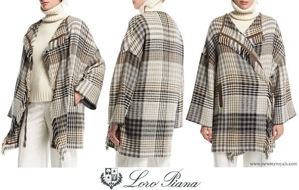 Princess Charlene wore Loro Piana Traford Plaid Fringe Poncho