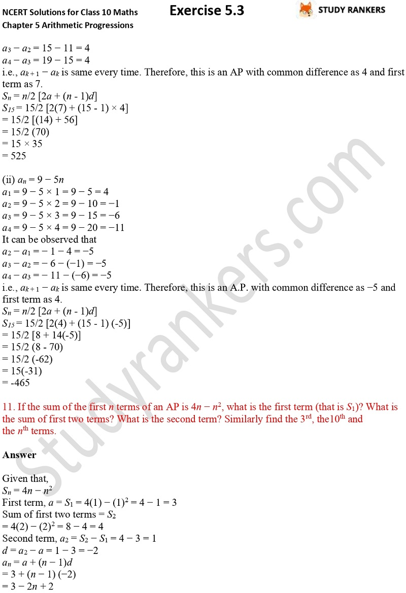 NCERT Solutions for Class 10 Maths Chapter 5 Arithmetic Progressions Exercise 5.3 Part 1 Part 10