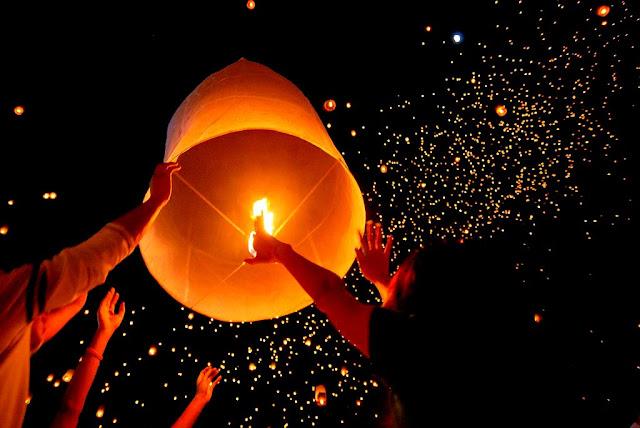 NIGHT SKY DURING PINGXI LANTERN FESTIVAL