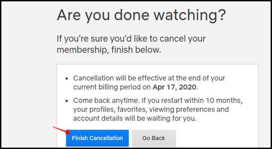 إلغاء إنهاء Netflix