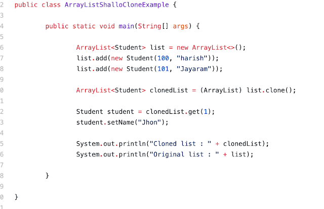 ArrayList clone() – ArrayList deep copy and shallow copy