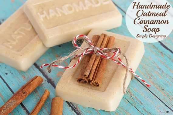 DIY Homemade Oatmeal Cinnamon Soap from Simply Designing