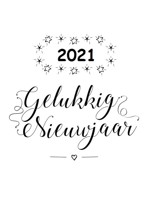 Gelukkig nieuwjaar 2021 zwart wit