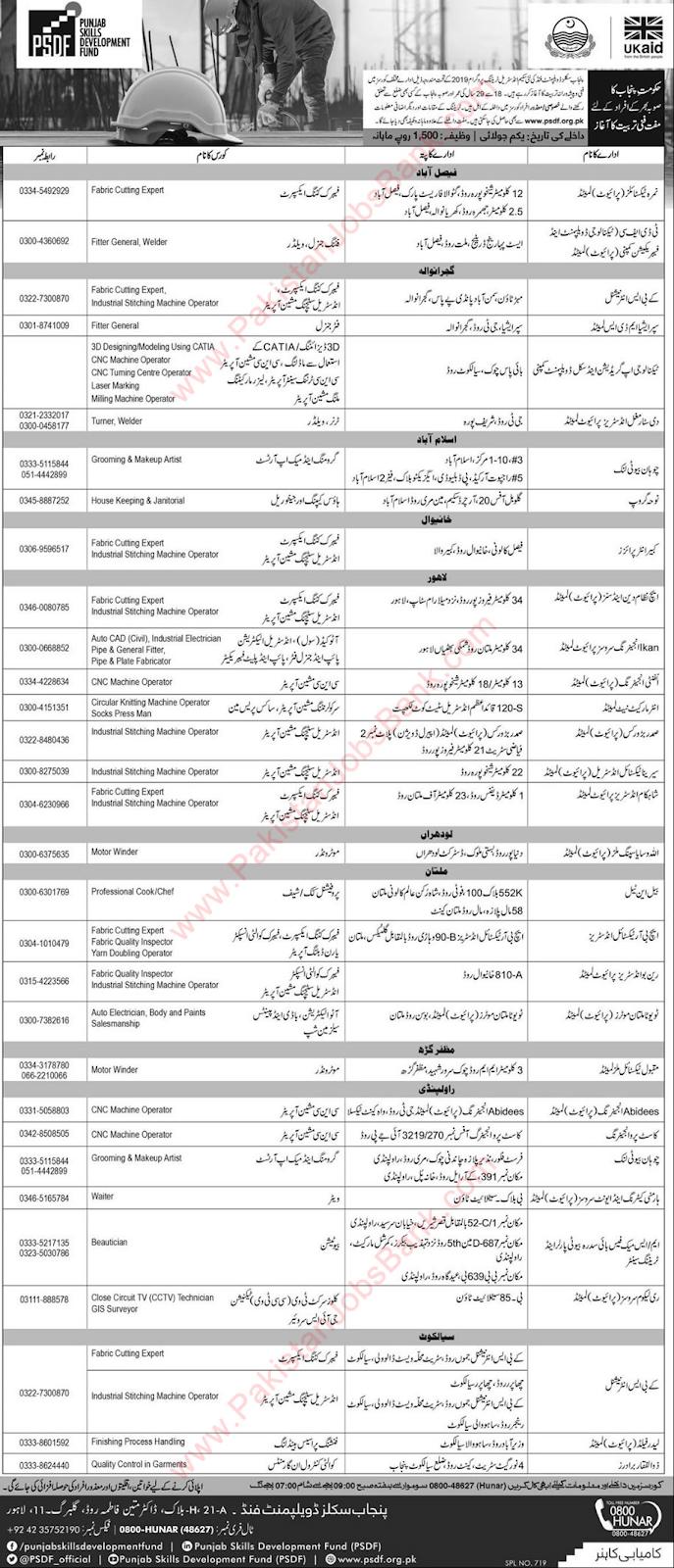 PSDF Free Courses June 2019 Punjab