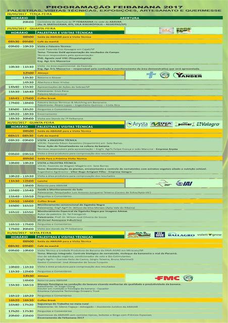 Programação Feibanana 2017 em Registro-SP