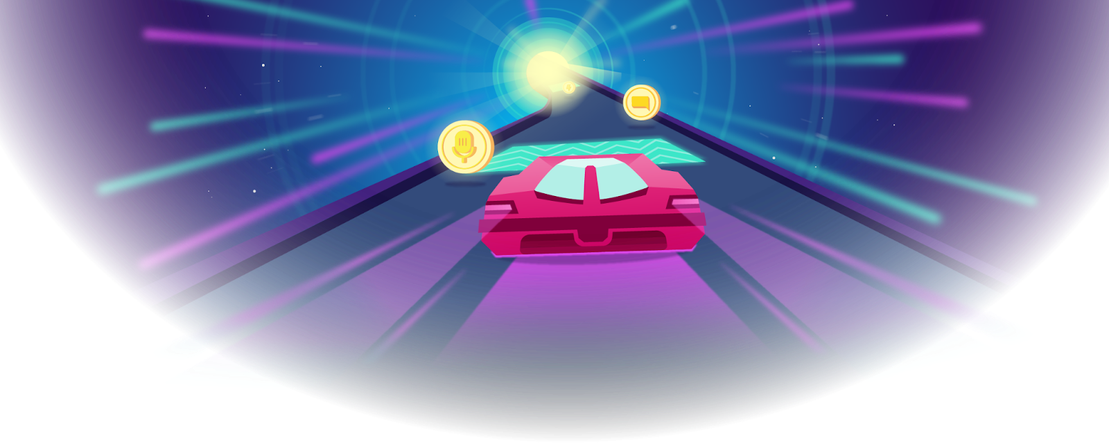 Illustration of pink car collecting coins