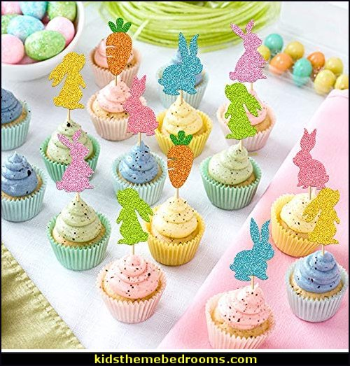 Bunny Rabbit Cupcake Topper Carrot Cake Decoration for Happy Easter Festival Spring Theme Kids Girls Boys Birthday 1st 2nd Bday Wedding Party Supplies