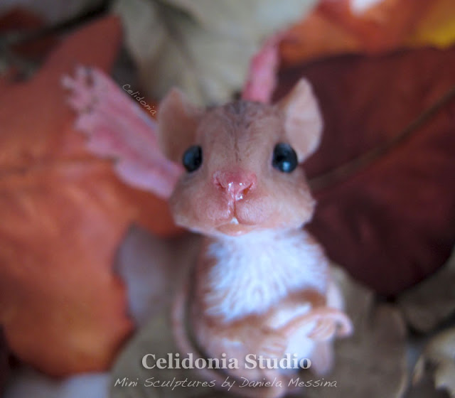 Fairy Mouse sculpted from polymer clay