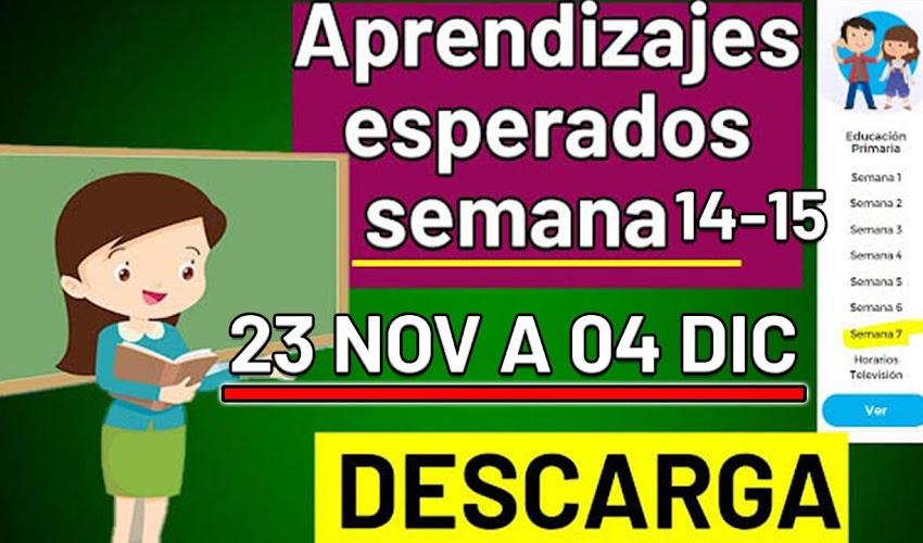 🧠🎒 DESCARGA los aprendizajes esperados de la semana 14-15 (23 de noviembre a 4 de diciembre)