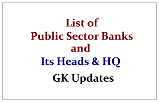 List of Public Sectors Banks and its Headquarters and Heads