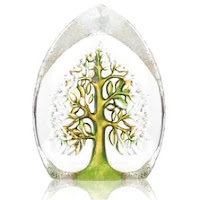 A glass sculpture of a green Tree of Life. Available from Wildlife Wonders.