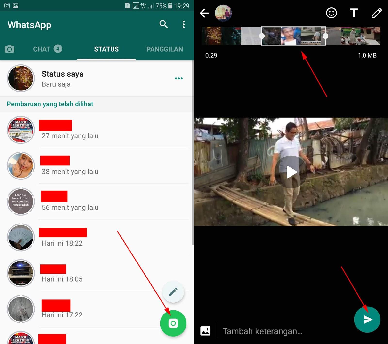 Caranya tekan ikon kamera dibagian pojok kanan bawah lalu upload video yang sama Nah disini tinggal