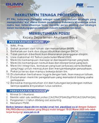 Rekrutmen PT PAL Indonesia (Persero)
