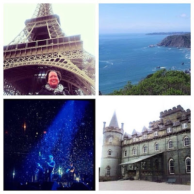 Collage: at Eiffel Tower, Sausalito, Kings of Leon, Scottish Castle