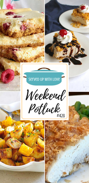 Weekend Potluck featured recipes include My Family's Favorite Potatoes, No-Fry Fried Ice Cream Bars, Raspberry Slab Cheesecake, Famous Butter Chicken, and so much more.