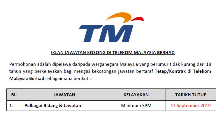 Jawatan Kosong Di Telekom Malaysia Berhad Kelayakan Spm Ejawatankini Com