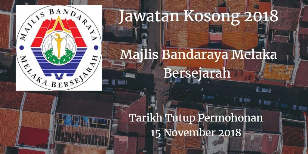 Jawatan Kosong MBMB 15 November 2018