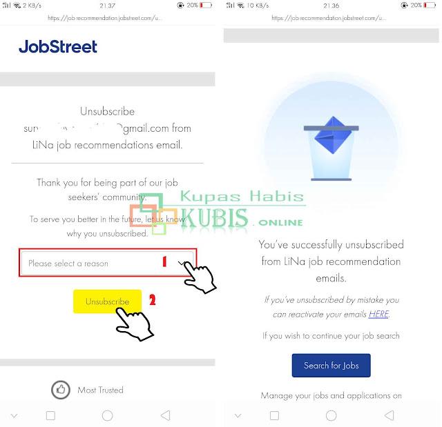 Cara berhenti langganan email lina jobstreet