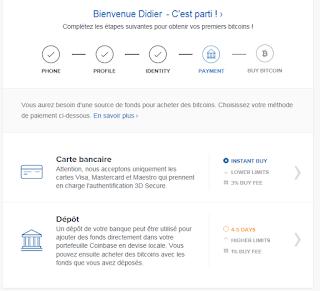 carte de credit ou virement sur Coinbase