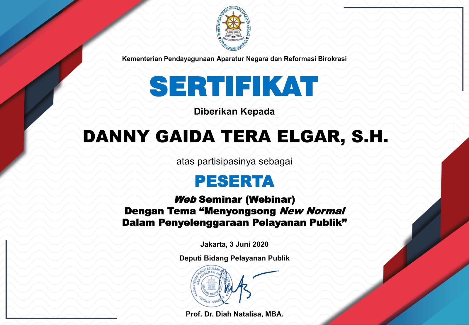 """Sertifikat Kementerian Pendayagunaan Aparatur Negara dan Reformasi Birokrasi Republik Indonesia (Kemenpan RB) """"Menyongsong New Normal Dalam Penyelenggaraan Pelayanan Publik"""""""