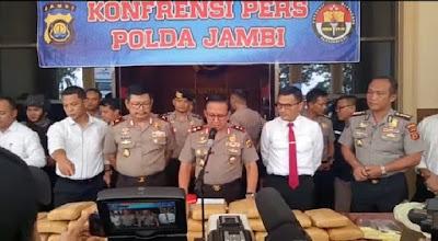 Ditresnarkoba Polda Jambi Berhasil Gagalkan Peredaran Narkoba Jenis Ganja Seberat 29 KG
