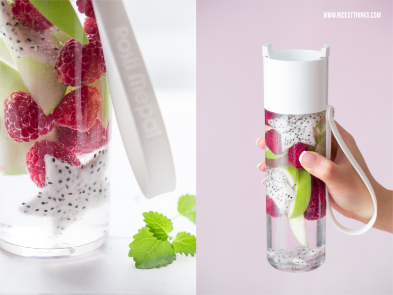 Rosti Mepal Trinkflasche Wasserflasche weiß JustWater