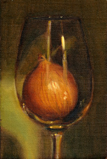 Oil painting of a brown onion inside a wine glass.