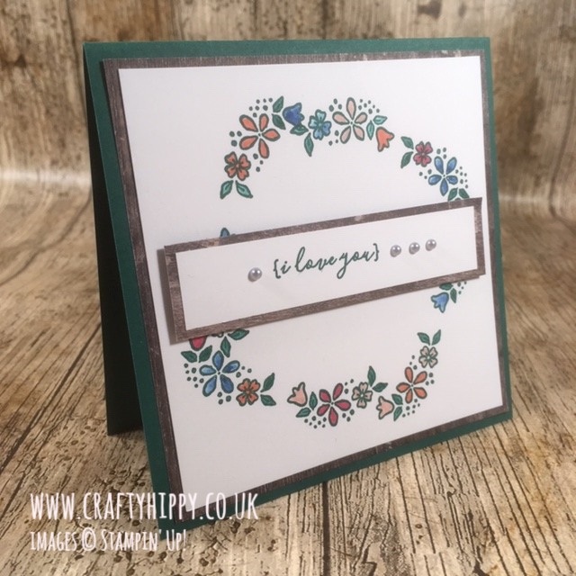 Handmade floral wreath card made using the P.S. You're The Best stamp set by Stampin' Up!