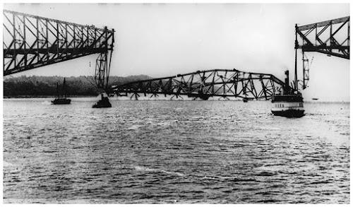 Demoronamento da Ponte Quebec em 11 de Setembro de 1916
