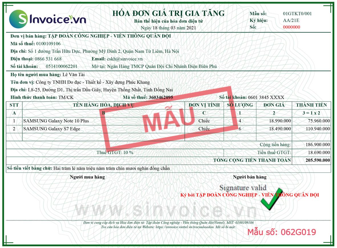 Mẫu hóa đơn điện tử số 062G019