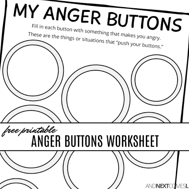 Free printable anger buttons worksheet - a great anger management activity for kids
