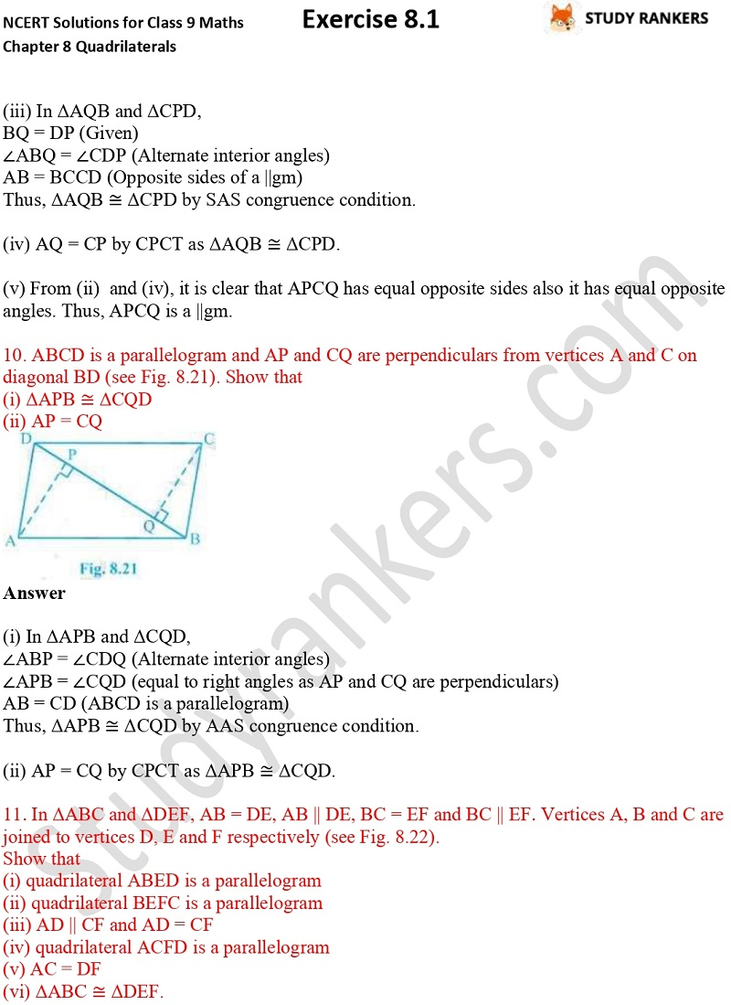 .NCERT Solutions for Class 9 Maths Chapter 8 Quadrilaterals Exercise 8.1 Part 7