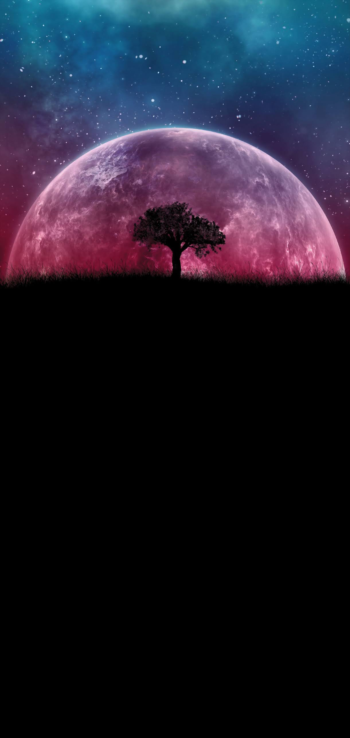 TREE SPACE PLANET FANTASY HALF AMOLED