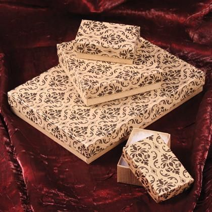 Damask Print Paper Cotton Filled Boxes