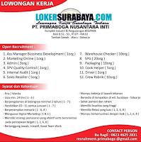 Lowongan Kerja Surabaya Terbaru di PT. Primaboga Nusantara Inti Juni 2020