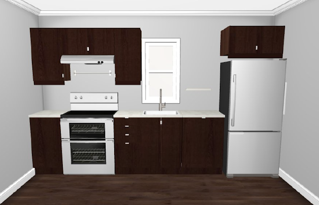 Small And Humble Kitchen On One Wall For The Chef