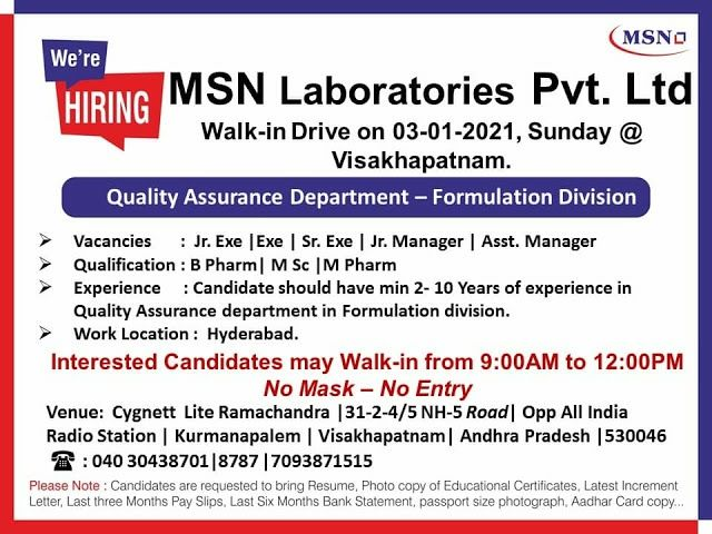 MSN Laboratories | Walk-in for QC/QA on 3rd Jan 2021 at Visakhapatnam
