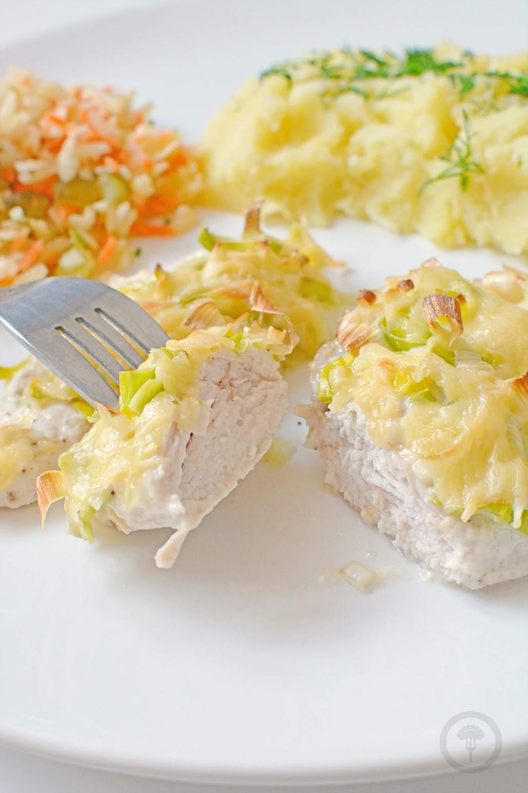 zapiekany kurczak z serem i porem