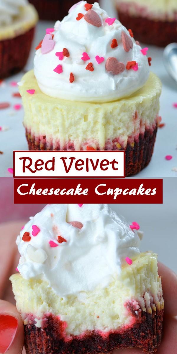 Red Velvet Cheesecake Cupcakes #Cupcakesrecipes