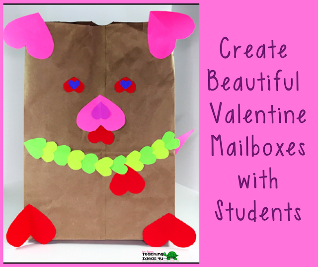 Create Beautiful Valentine Mailboxes with Students - Fast and easy Valentine's Day art project!  Teach students how to design a mailbox using only paper hearts and bags. Photos of examples are included.