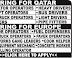 Europe / Qatar VISA | Vacancy - Operators / Drivers / Technicians