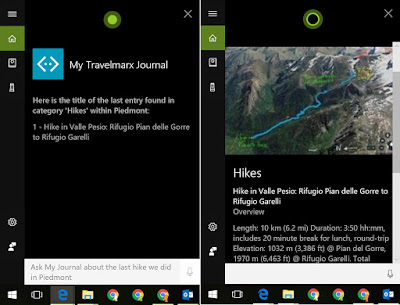 Scenario 7 - Windows 10 Desktop Cortana searching Scrapbook for hikes.