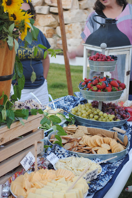 appetizer buffet table, Stand up paddle board buffet table. Cheese and crackers,
