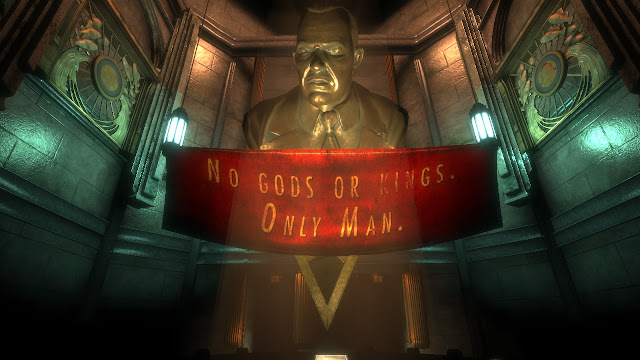 BioShock Andrew Ryan statue no gods or kings only man
