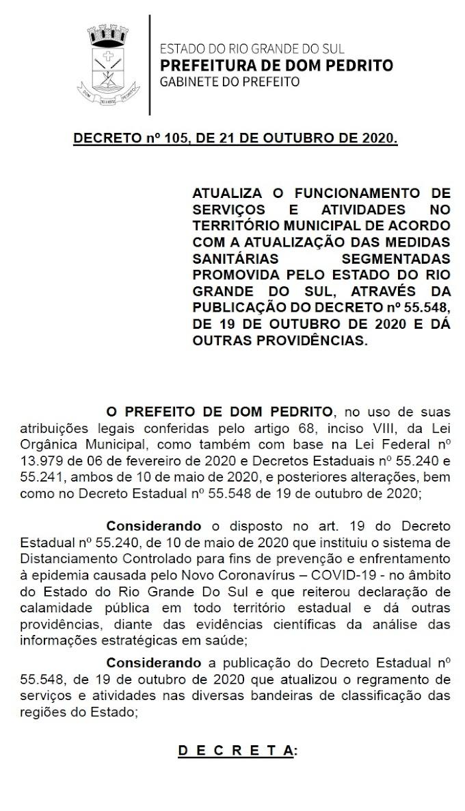 Novo Decreto Municipal regulamento retorno de eventos