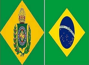 A bandeira do Brasil. Bandeira Imperial e atual