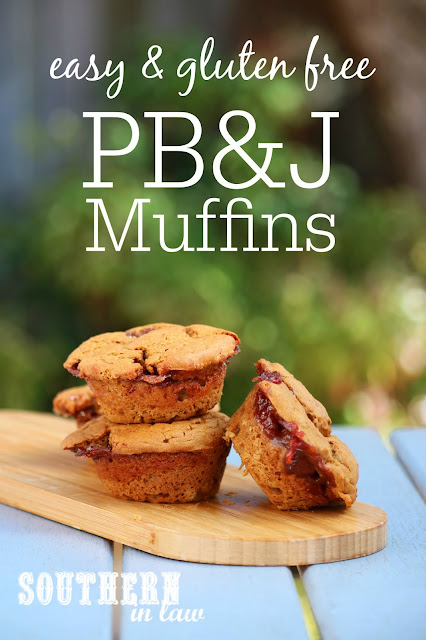 Easy Gluten Free PB&J Muffins Recipe - peanut butter and jelly muffins, gluten free, low fat, sugar free, clean eating recipe, healthy, vegan, dairy free