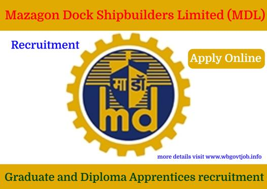Graduate and Diploma Apprentices recruitment in Mazagon Dock Shipbuilders Limited (MDL).